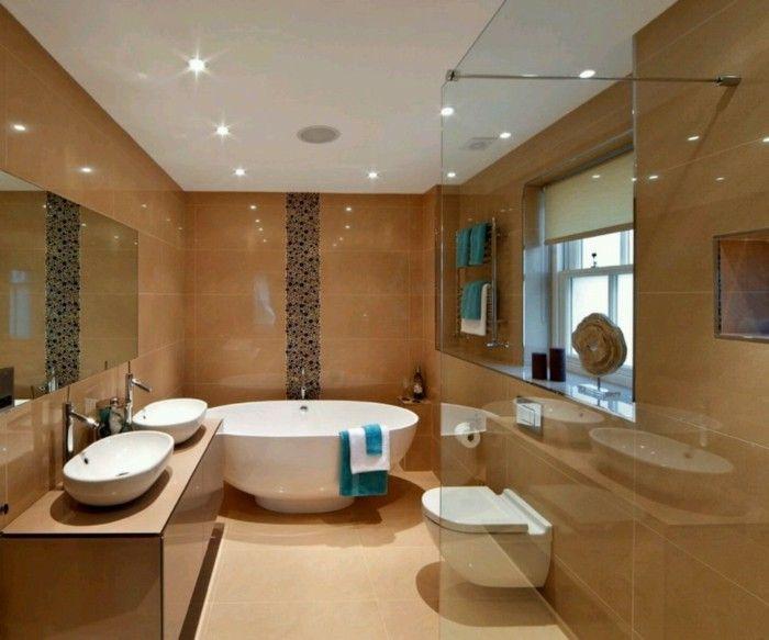 braune wandgestaltung braun im badezimmer - Wandgestaltung Braun Ideen