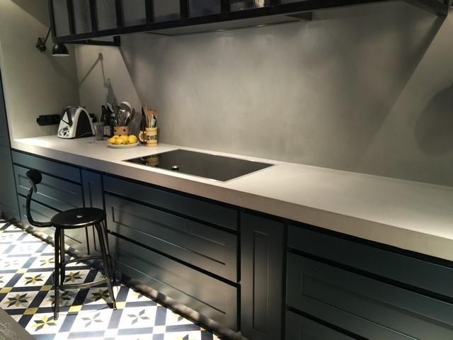 Plan de travail en béton ciré Poivre blanc Home decor Pinterest - repeindre un evier de cuisine