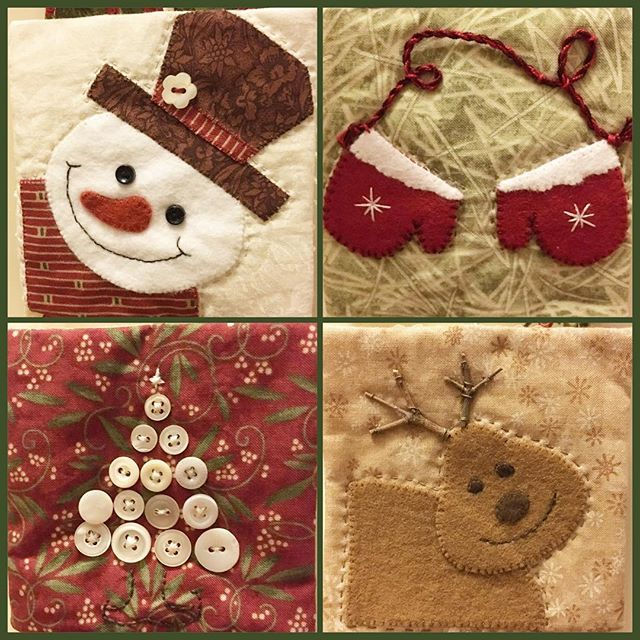 More little ornaments on my #adventcalenderquilt, #snowman #wintergloves #rudolphtherednosedreindeer #buttonchristmastree #felt #feltapplique #appliqué #christmasdecorations #christmas2016