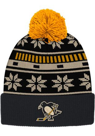 e671f227 Reebok Pitt Penguins Black Cuffed Knit Hat | NHL - Pittsburgh ...
