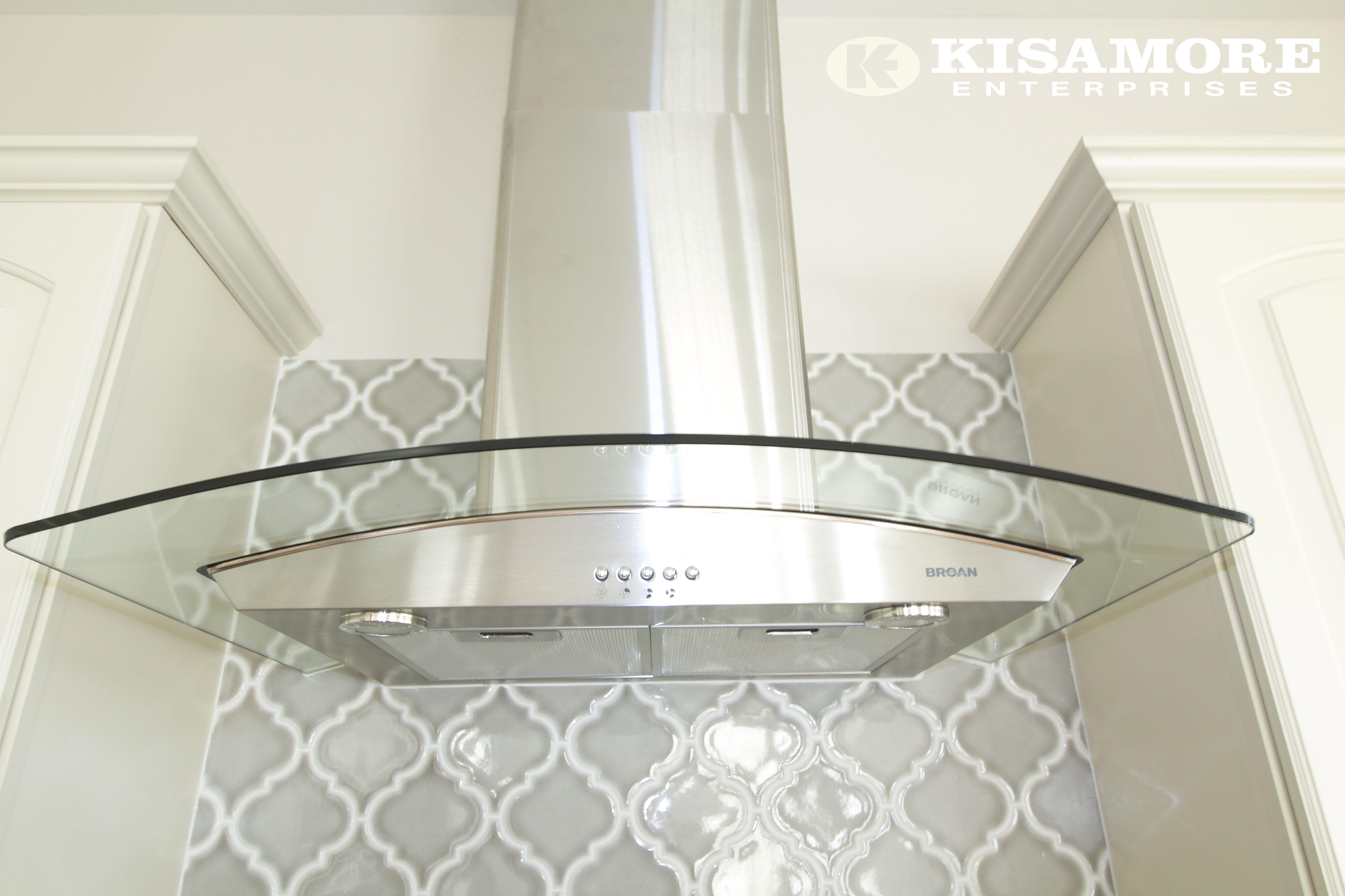 White Kitchen Gray Arabesque Backsplash Tile White Cabinets Stainless Steel Range Hood Kisamoreenterpri Glass Backsplash Backsplash Trendy Kitchen Tile
