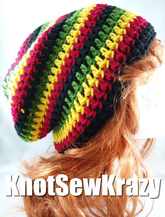 Crochet Slouch Beanie Rasta Bob Marley Black Red Green Yellow Arts
