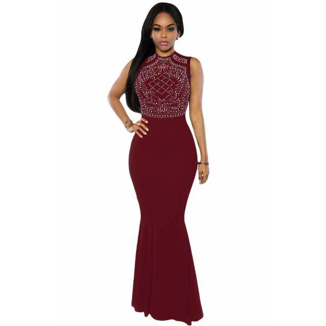 Burgundy Shimmering Rhinestone Embellished Maxi Mermaid Dress
