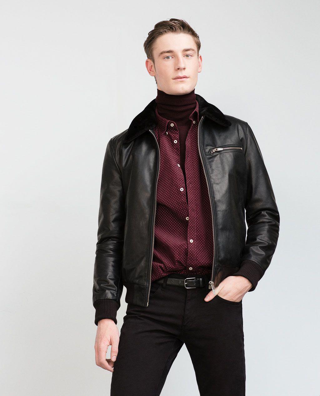 Image 2 of LEATHER JACKET from Zara Leather jacket, Mens