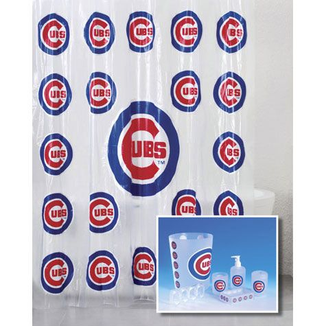 Chicago Cubs 7 Piece Frosty Bath Set Cubs Room Chicago Cubs Pvc Shower