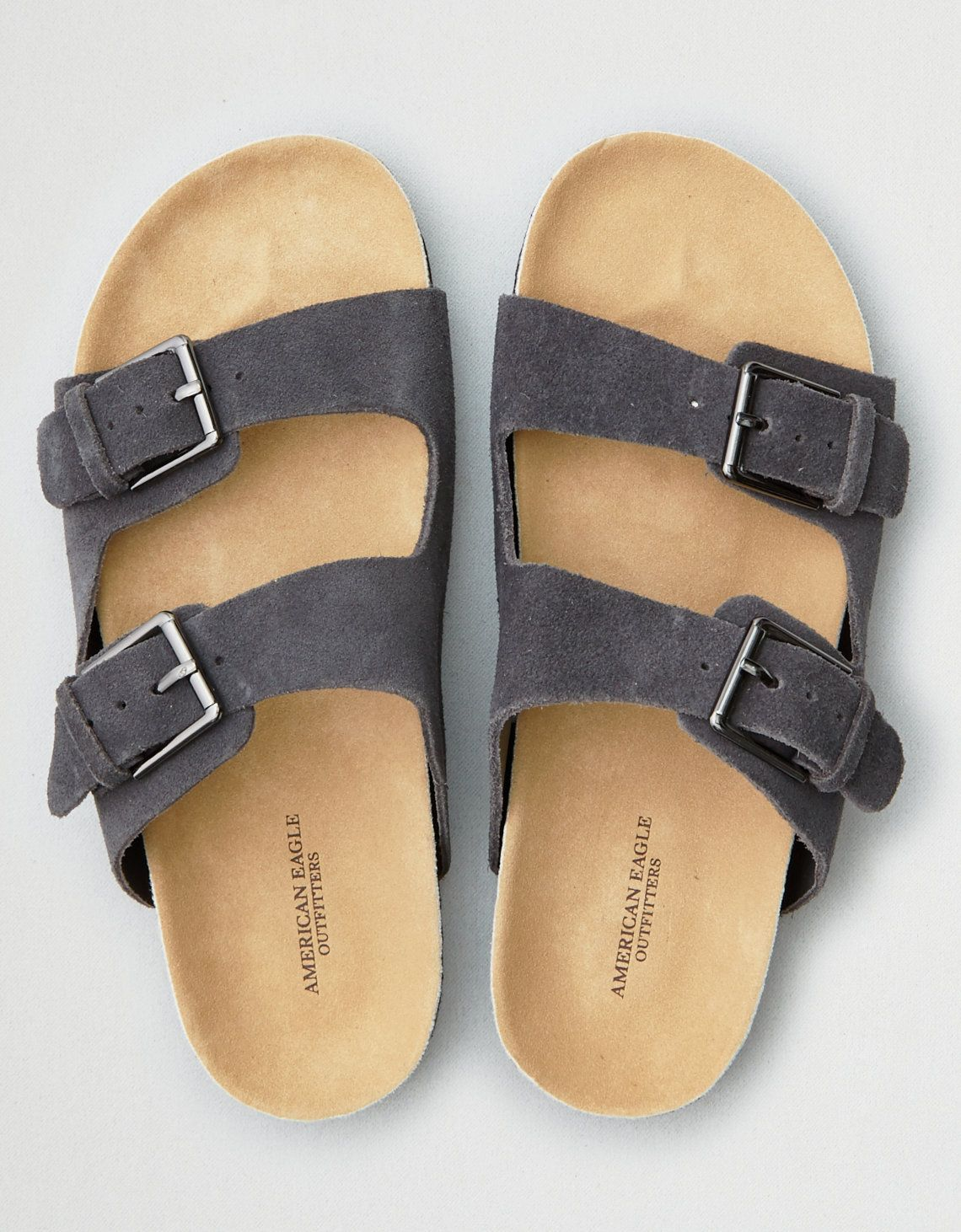 AEO Double Buckle Sandal | Brown leather sandals, Brown