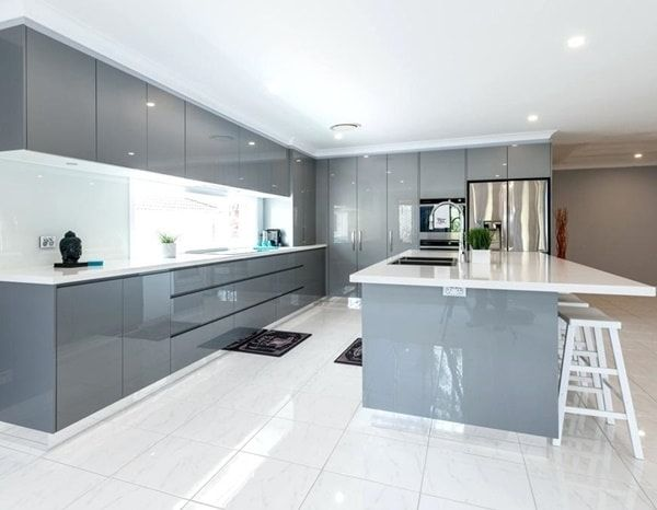 Glossy or matt kitchen furniture? #greykitchendesigns