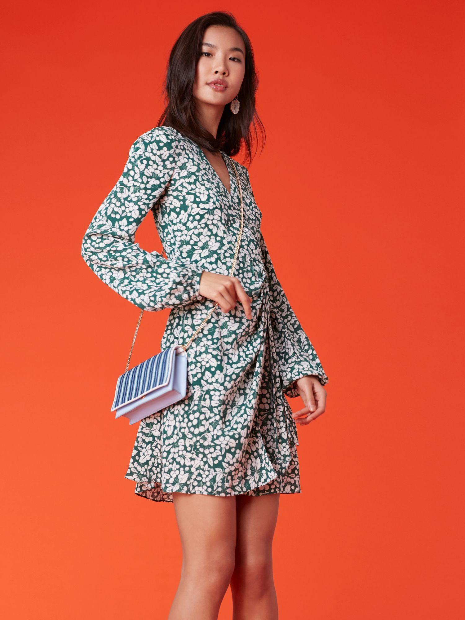 Diane von furstenberg dvf long sleeve wrap dress cherry garden