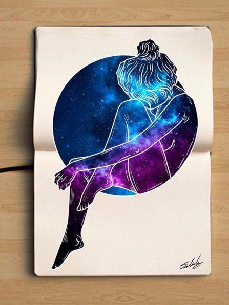 Картинки в стиле космос для срисовки, кофе