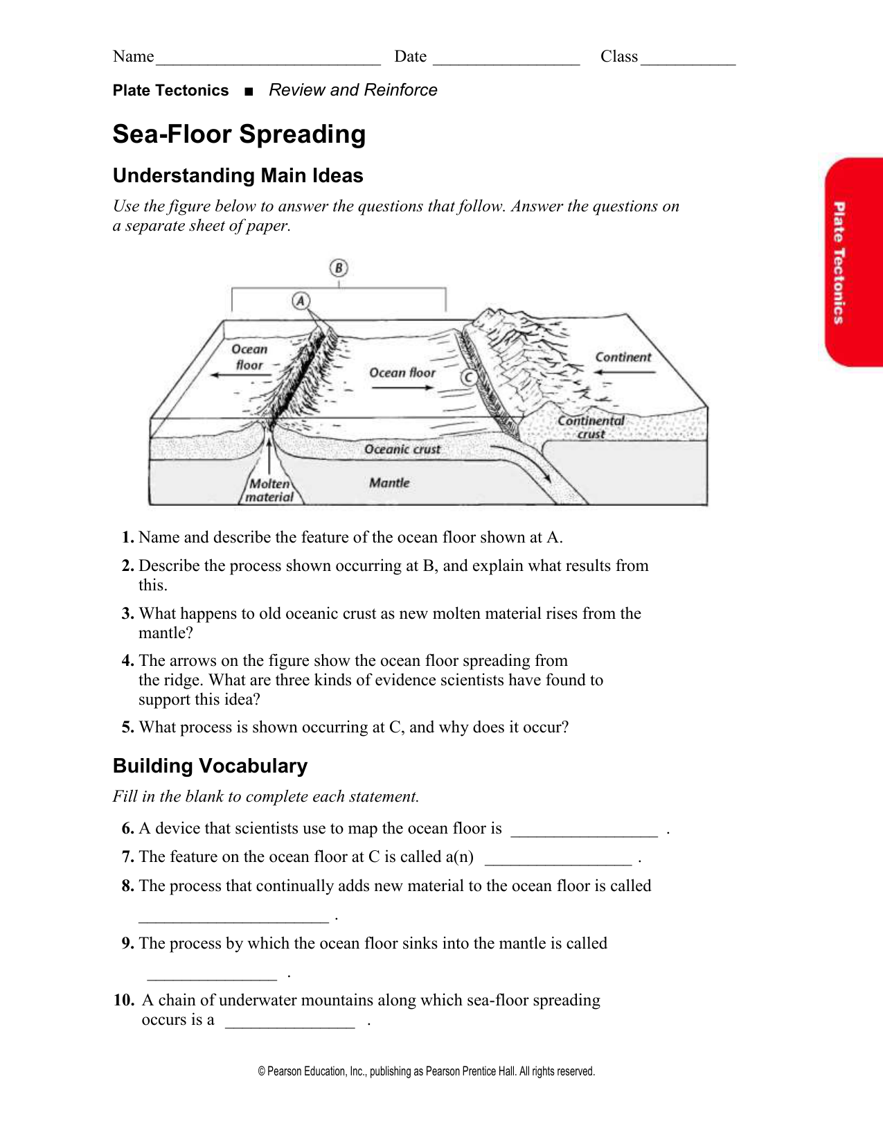 Sea Floor Spreading Worksheet Answers Pearson Education