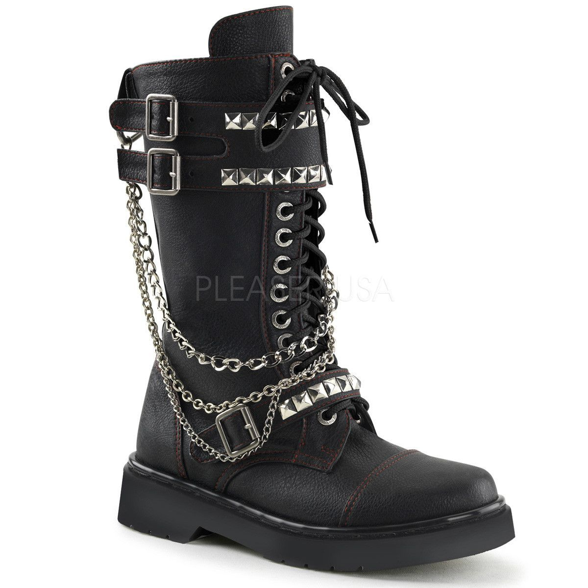 1dfc4bf6c7ca Demonia RIVAL-315 Black Vegan Leather Combat Boots