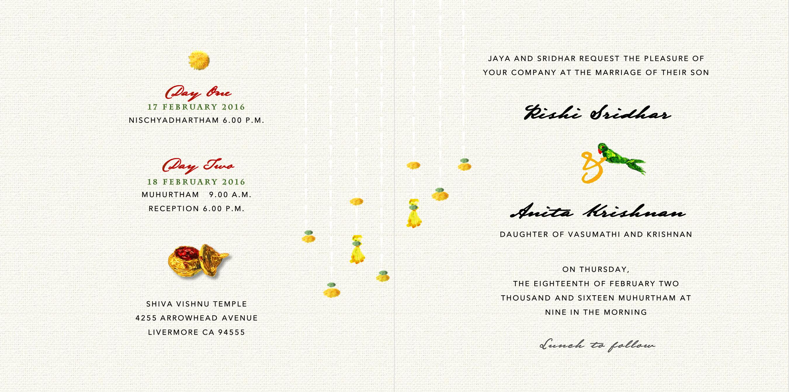 Sametha S South Indian Wedding Invitation Card Inside Indian