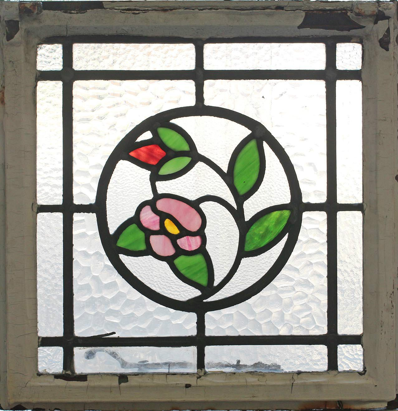 Leaded glass designs for windows - Antique Stained Glass Window Four Color Floral Design Ebay
