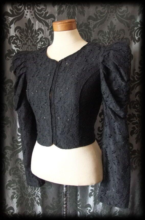 Gothic Black Lace Puff Sleeve VICTORIAN STEAMPUNK Jacket Shrug 8 10 Vintage BN - £29.00