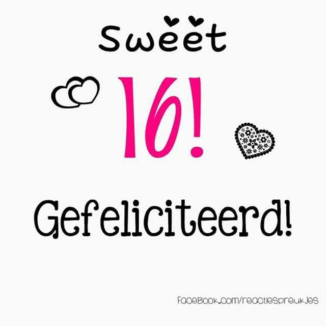 Sweet 16 Gefeliciteerd Verjaardag Felicitatie Kaart Tekst
