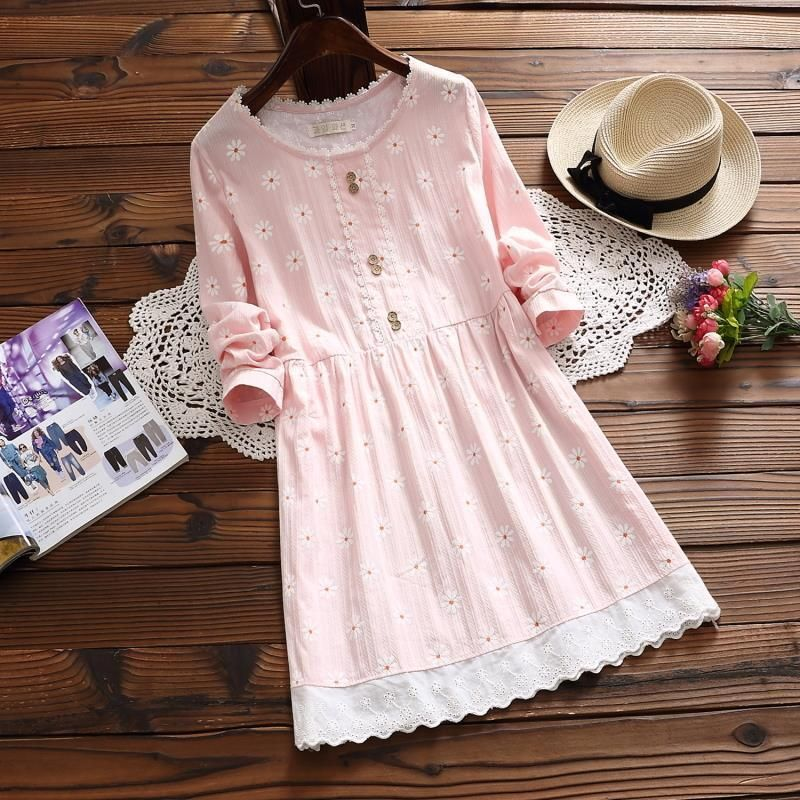 5ea1e62ea6d38 Cute Print Oversize Loose Vintage Mori Girls Japanese Sweet Long ...
