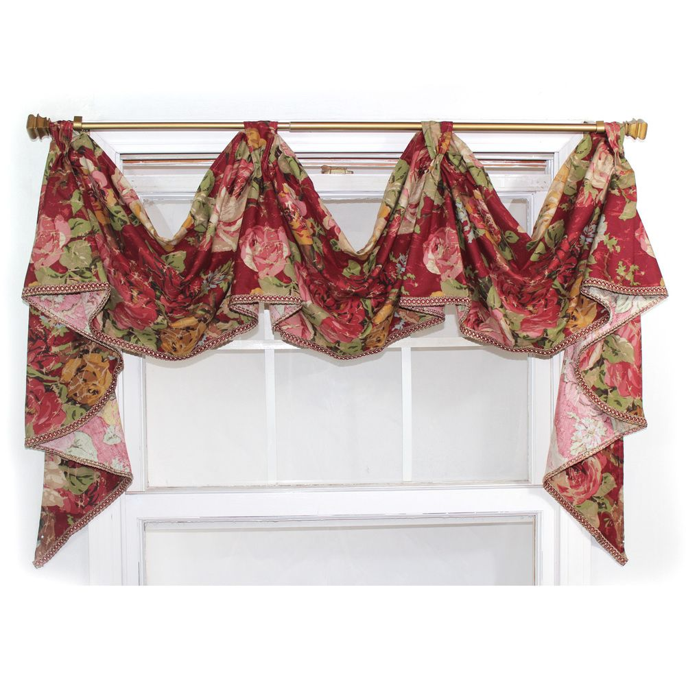 39 delora 39 rouge 3 scoop victory swag valance home ideas - Swag valances for bathroom windows ...