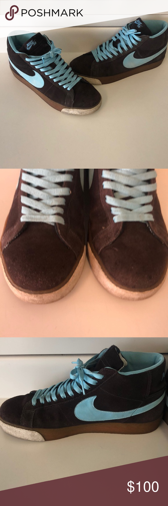 brand new 53d28 e6e63 NIKE BLAZER SB CAPPUCCINO BROWN BLUE HI SUPREME Men s size 11 CHILL BROWN  GUM DUNK VINTAGE 2008 baby blue Nike Shoes Sneakers