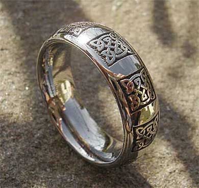 Domed Profile Celtic Anium Rings Engraved Wedding Ring