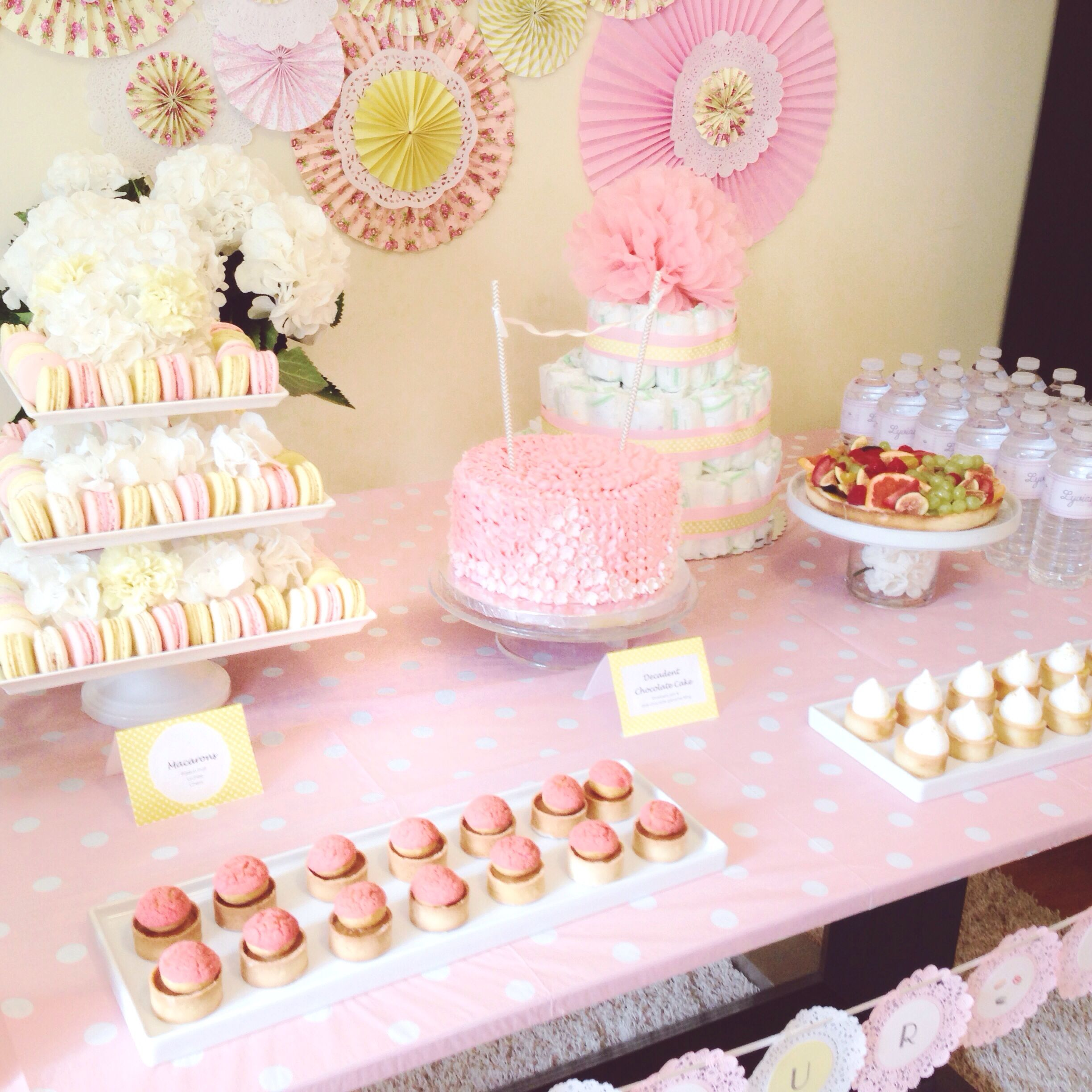 Pink Yellow Baby Shower Lindseys Shower In 2019 Pinterest