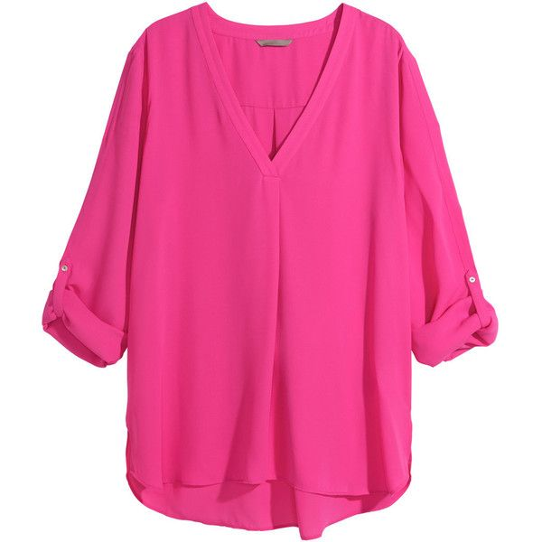 H&M+ V-neck blouse ($9.11) ❤ liked on Polyvore featuring tops, blouses, shirts, pink, h&m, plus size, plus size shirts, v neck shirts, plus size blouses and plus size v neck shirts