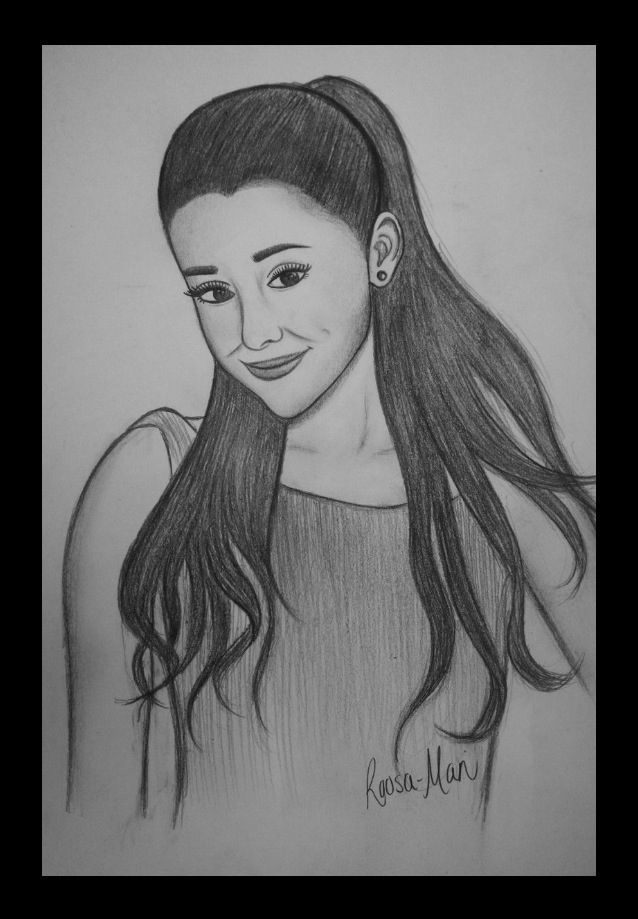 Ariana Grande i saw someone who drew this at an art show ive been trying ever since