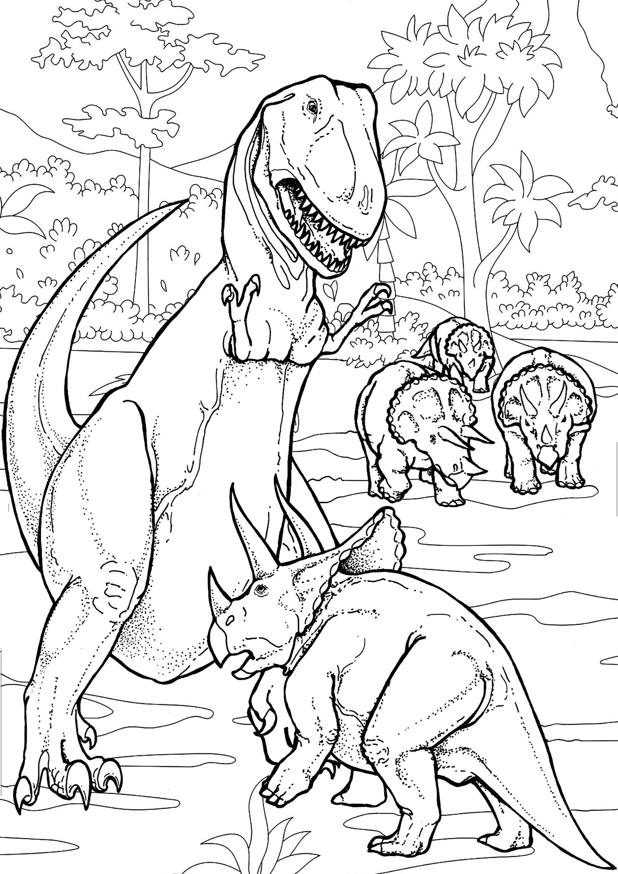 Dinosaurs Battle Dinosaurs Coloring Pages for Adults