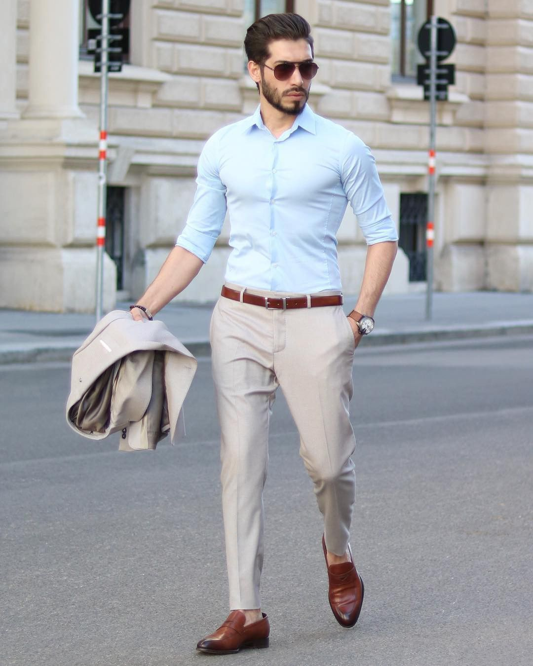 Wedding White Or Blue Shirt: Man Wearing Tan Colored #suit With Blue Shirt And Brown