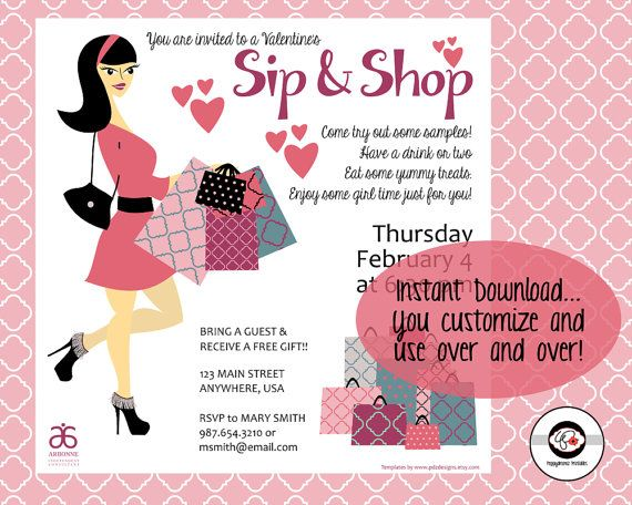 Sip & Shop Valentines Party Instant Download Social Media
