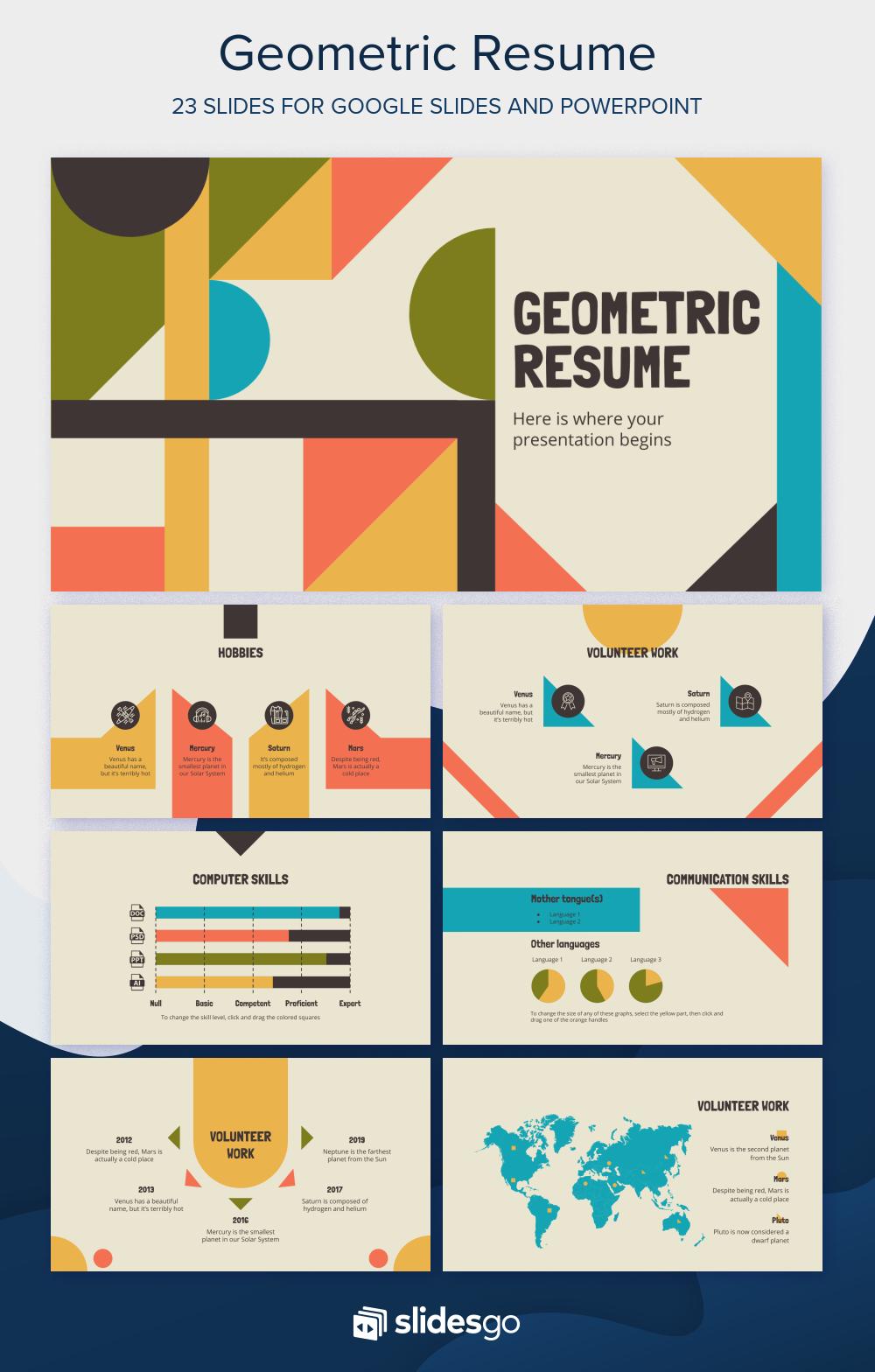 Geometric Resume Presentation Free Google Slides theme