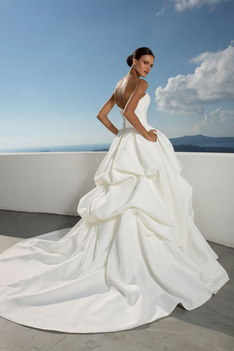 Justin alexander style satin drop waist ball gown with pick