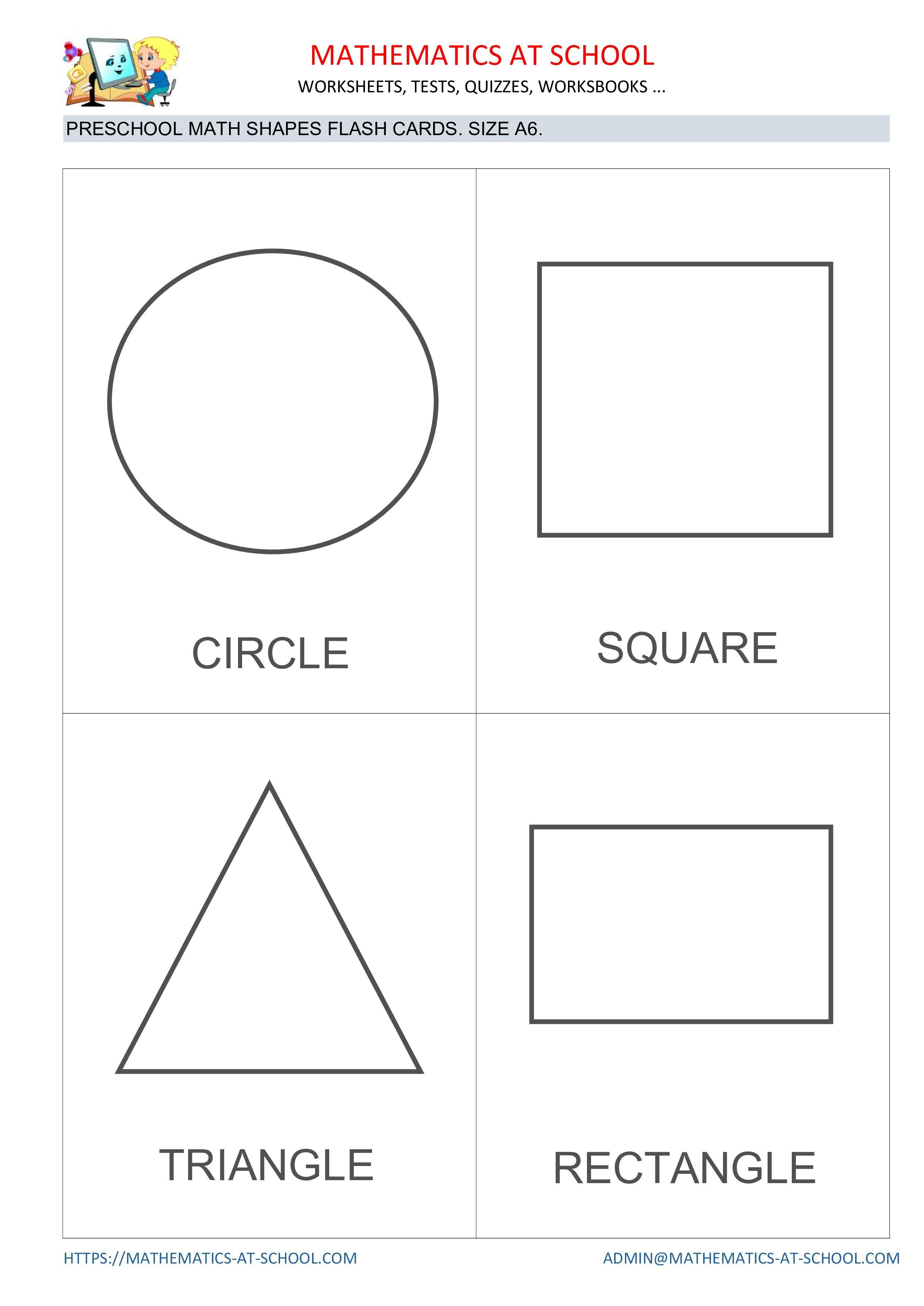 Preschool math shapes flash cards [ 3508 x 2481 Pixel ]