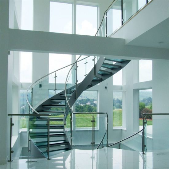 Best Price Curved Glass Staircases With Bent Glass Railing Glass Spiral Staircase 4000 From 400 x 300