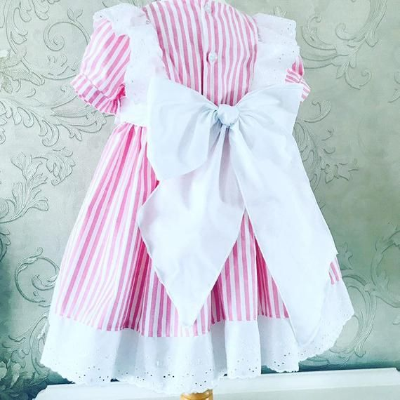 Girls Smocking Dress Handmade Striped Birthday Party Pageant Sleeveless Ruffled