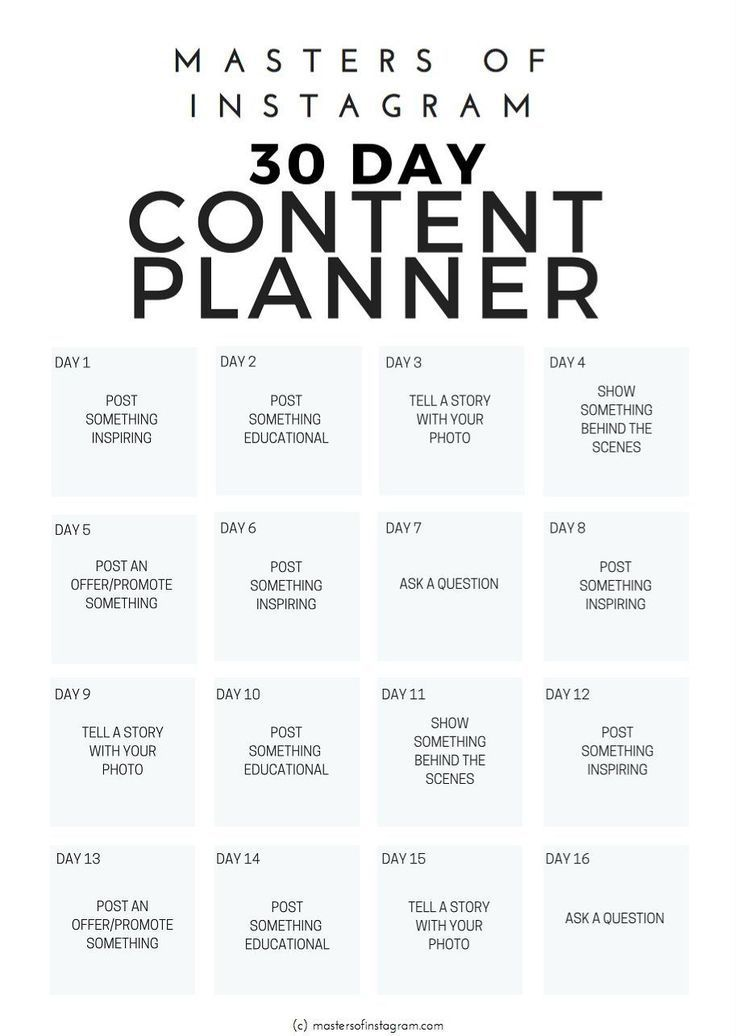30 day Instagram content planner Social media business