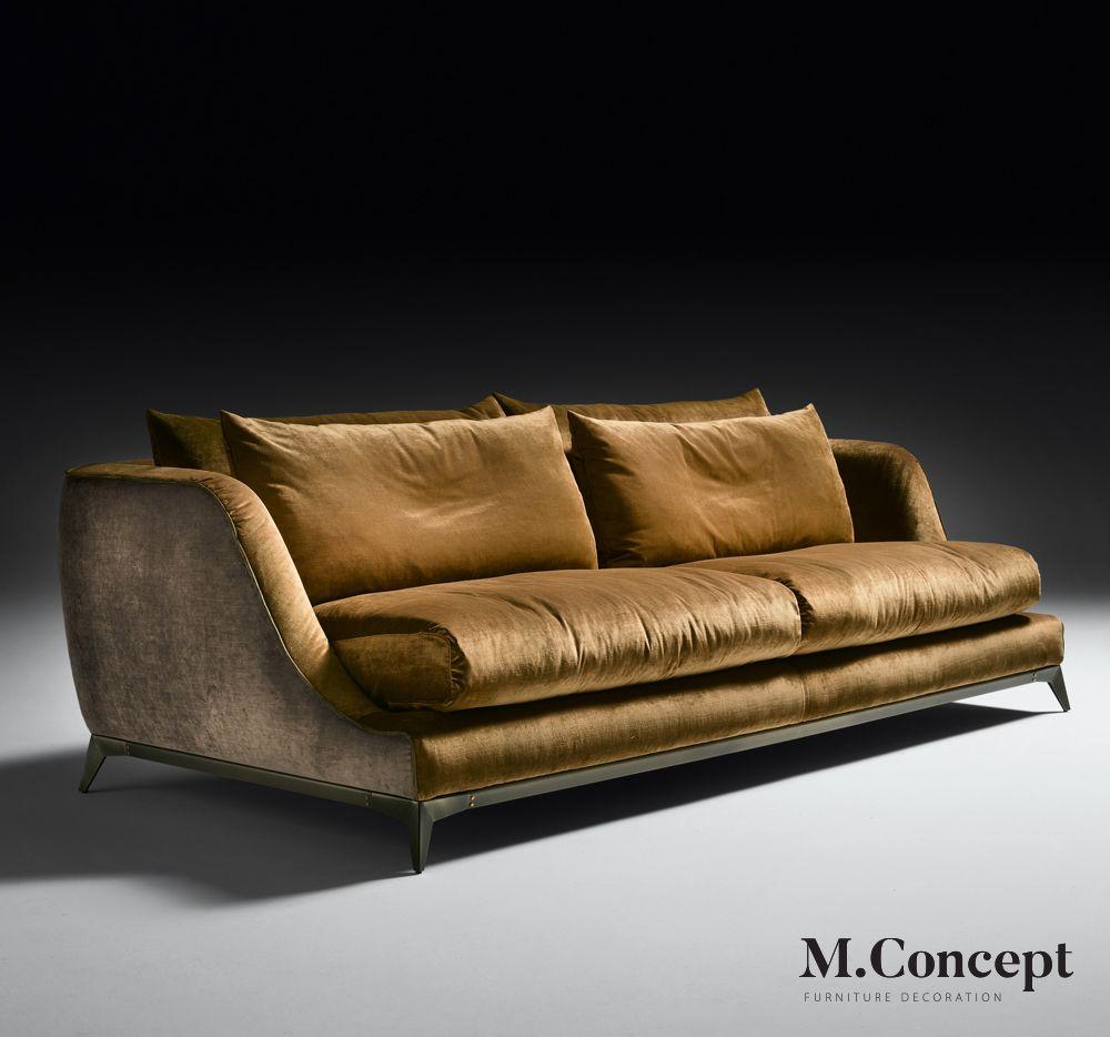 Luxurious Brown Italian Sofa Kich Thước Dai 2 2m X 0 93m Chan Viền Khung Sắt Chất Liệu Vải Han Quốc Va Vải Bố Nhung 17 Velvet Sofa Italian Sofa Designs Sofa