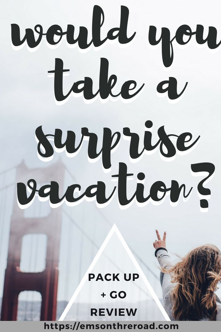 Do you love to travel but hate planning? Sign up for a surprise three day weekend with Pack Up + Go. Surprise Travel Agency