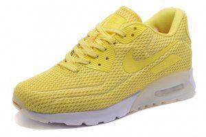 6171deeaa5 Mens Womens Shoes Nike Air Max 90 Ultra Breathe Lemon Yellow White Nike Air  Max For