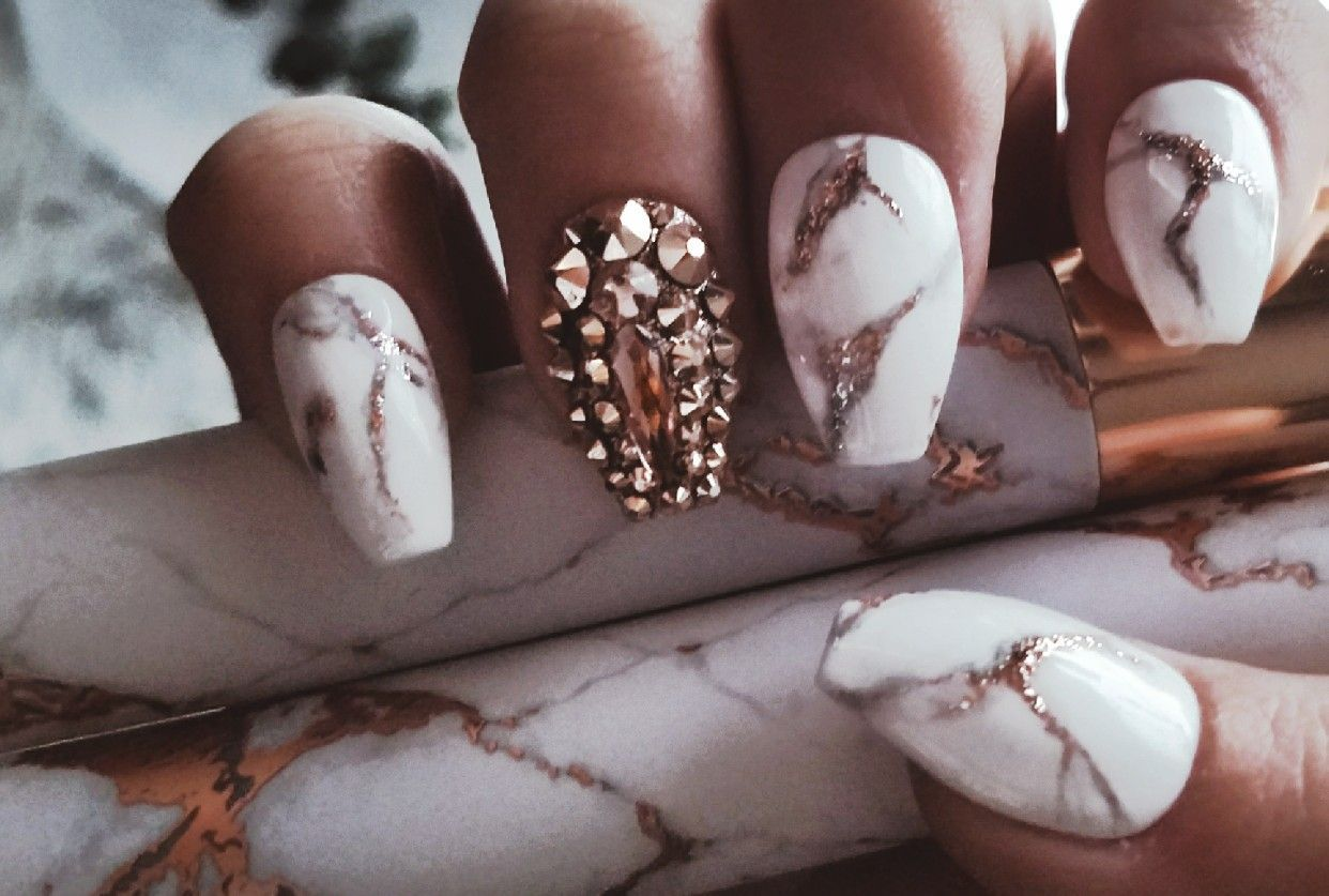 White and rose gold marble nails with swarovski crystals