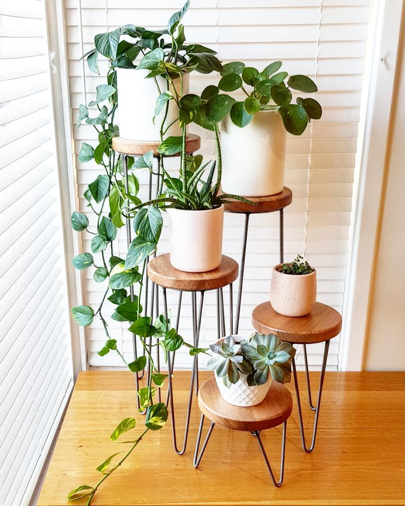 Photo of HARPER – Hairpin leg plant stand, metal plant stand, plant stand, speaker stand, side table, hairpin leg table, small table
