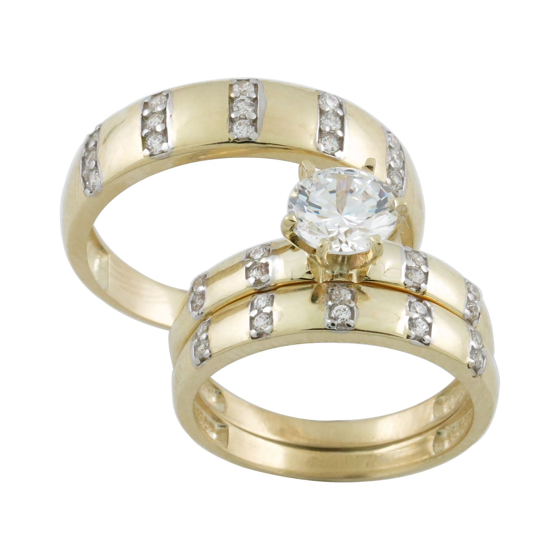 10k Gold Cubic Zirconia Matching His and Hers Bridal style Ring