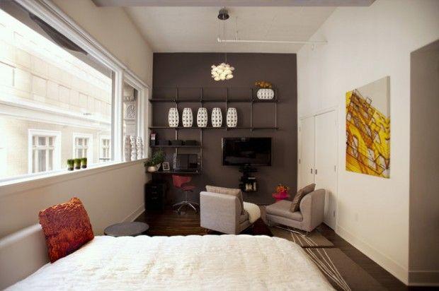Interior Designs, The Ingenious White Bedroom And Single Red Pillow Unique  Tiny Studio Apartment Design Ideas: Saving Space Ideas For Studio Apartments