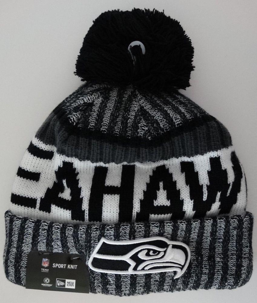 Seahawks Black NFL 2017 New Era On Field Sideline Beanie Cuff Knit Pom Hat  Nwt  NewEra  SeattleSeahawks 69bcec443