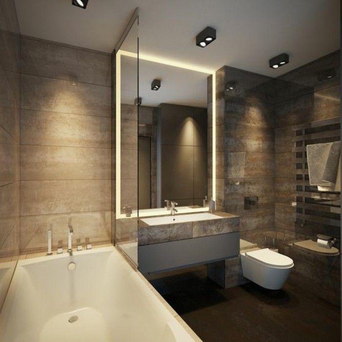 Badgestaltung Ideen Moderne Bader Badezimmer In Hellbraun Spiegel Mit  Beleuchtung