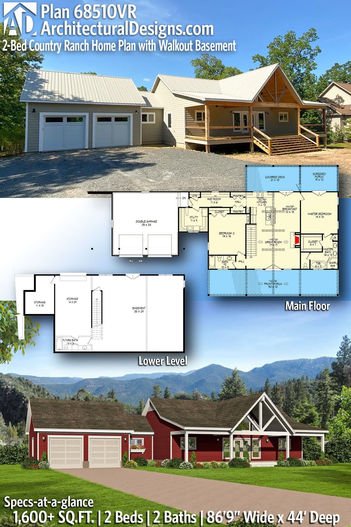 Plan 68510vr 2 Bed Country Ranch Home Plan With Walkout Basement In 2021 Ranch House Plans Country House Plans House Plans Farmhouse