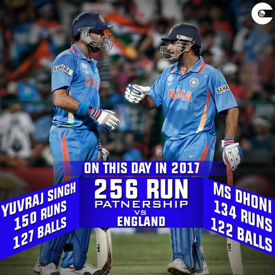 Onthisday Last Year Yuvraj Singh And Ms Dhoni Came Together To Have One Of Their Most Memorable Batting Partnership Cricket Match Cricket Latest Cricket News