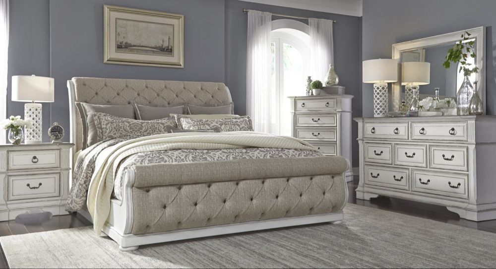 Abbey Park 5 Piece King Upholstered Sleigh Bedroom In 2020 White