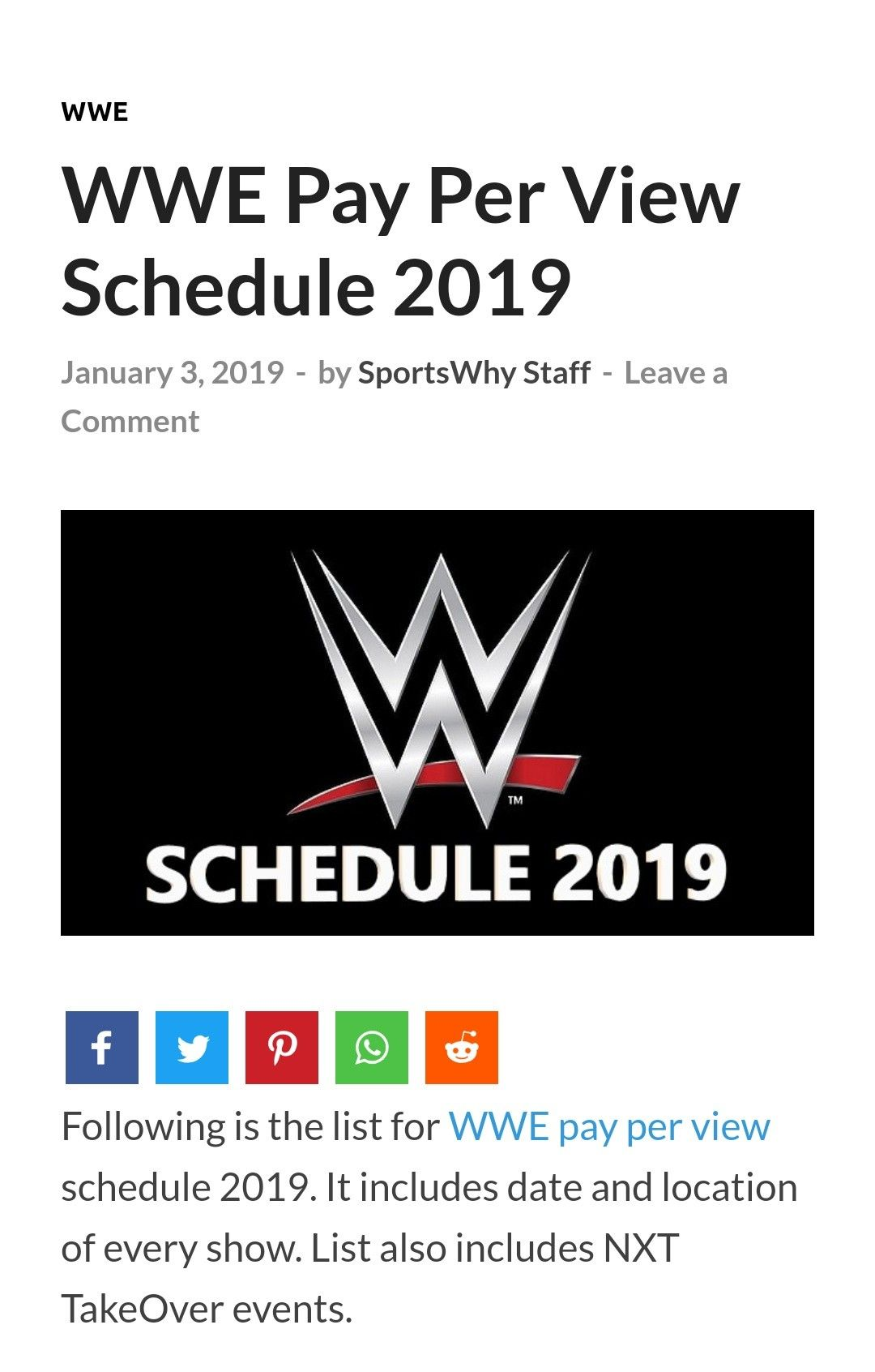 Visit sportswhy com to know the WWE schedule in 2019 | WWE