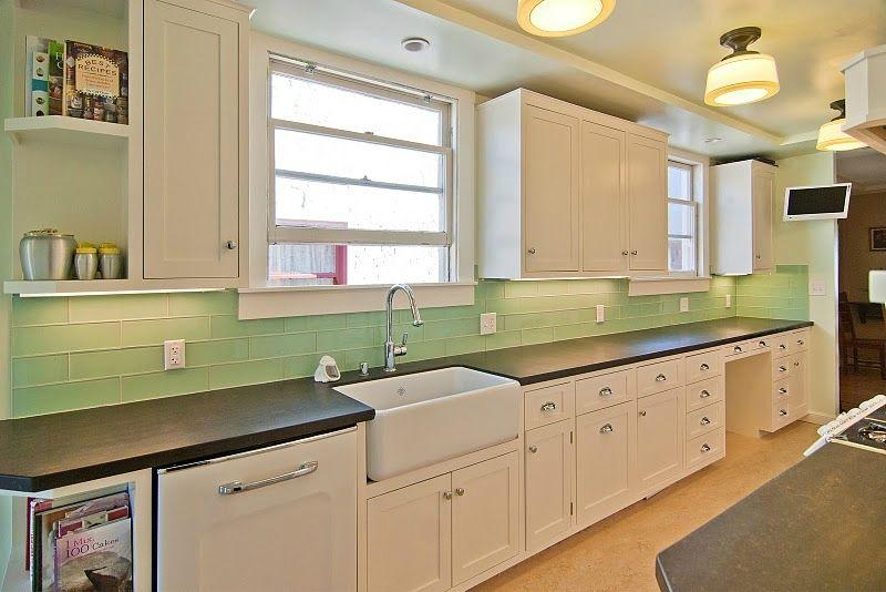 Kitchen Backsplash And Bathroom Tile Ideas With Green Glass Subway