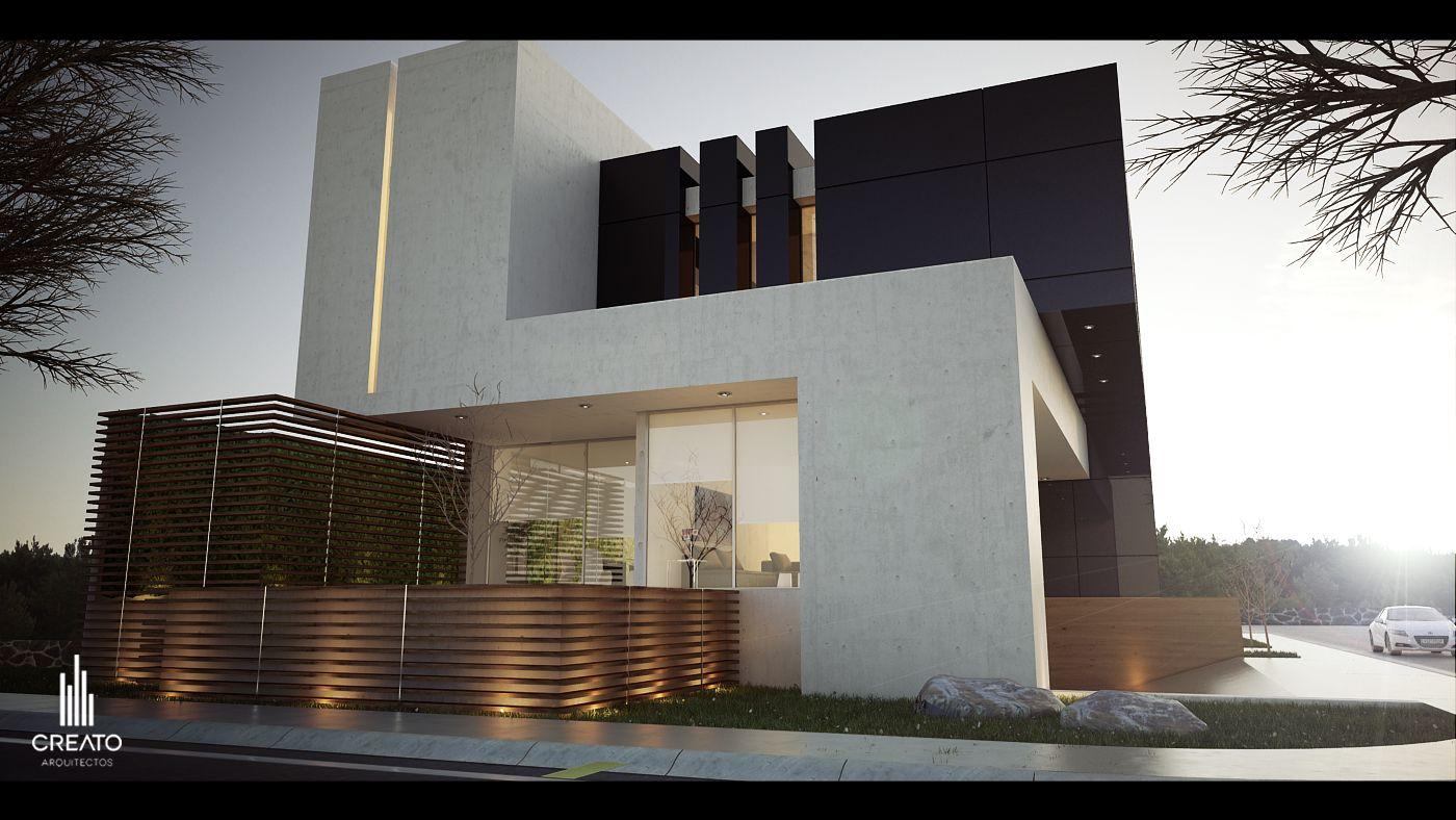 Casa m 9 provenza esquina atardecer fachada creato for Casa moderna esquina